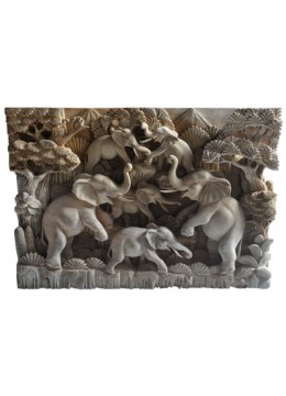 Wood Carving Elephant Relief