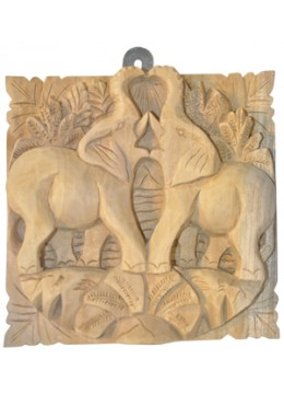 Relief Elephant Wood Carving