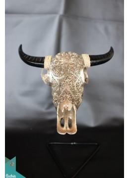 Artificial Resin Buffalo Skull Head Wall Decoration Silver - Marta