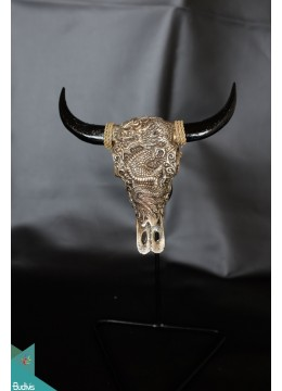 Artificial Resin Buffalo Skull Head Wall Decoration Gold  - Marta