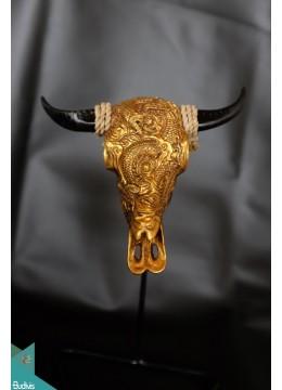 Artificial Resin Buffalo Skull Head Wall Decoration Gold  - Marta