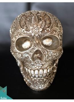 Artificial Resin Skull Head Hand Painted Wall Decoration Silver - Marta