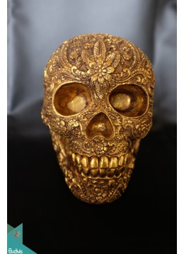 Artificial Resin Skull Head Hand Painted Wall Decoration Gold - Marta
