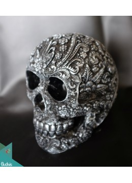 Artificial Resin Skull Head Hand Painted Wall Decoration Silver - Marta