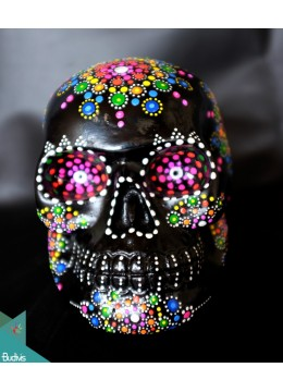 Artificial Resin Skull Head Hand Painted Wall Decoration Mandala - Marta