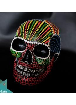 Artificial Resin Skull Head Hand Painted Wall Decoration Mandala - Marta