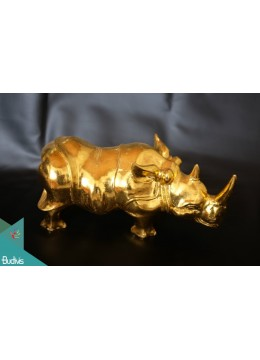 Artificial Resin Rhino Hand Painted Home Décor Gold - Marta