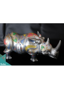 Artificial Resin Rhino Hand Painted Home Décor Silver - Marta