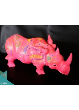 Artificial Resin Rhino Hand Painted Home Decor - Marta
