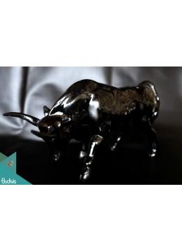 Black Artificial Resin Bull Home Decor - Marta