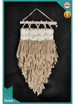 New! Mini Wall Hanging With Shell Ornament Natural Rope