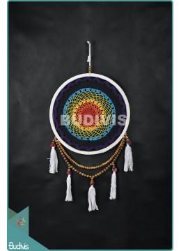 Bali Dream Catcher Cotton Rope Rainbow Tassel Wooden Bead Wall Hanging Bohemian In Handmade