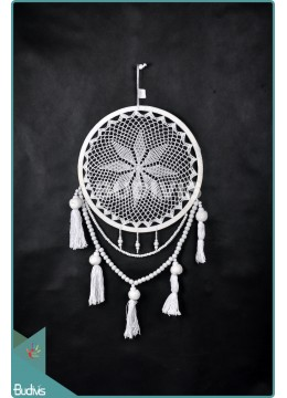 Manufacturer Dream Catcher Cotton Rope White Tassel Wooden Bead Wall Hanging Bohemian In Handmad