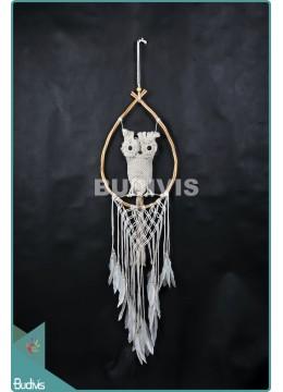 Top Model Owl Macrame Cotton Rope Rattan Drop Wall Hanging Bohemian Stye In Handmade