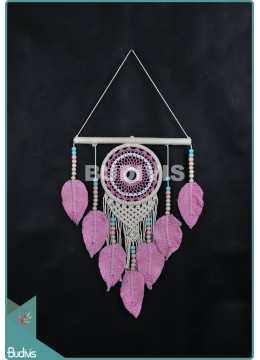 Hot Stye Dream Catcher Mandala Tapestry Bohemian Hippie With Feather Pink Stye Cotton Rope
