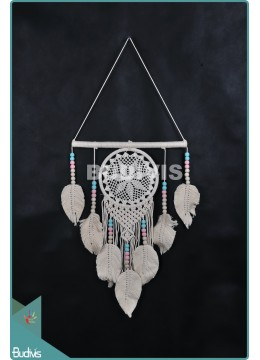 Latest Dream Catcher Mandala Tapestry BohemianHippie With Feather Pink Cream Cotton Rope