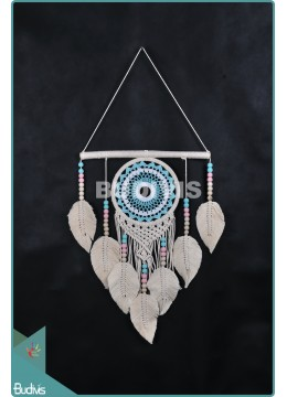 Wholesaler Dream Catcher Mandala Tapestry Bohemian Hippie Turquoise Stye With Beige Feather Cotton Rope