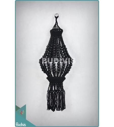 Manufacturer Black Lampshade Wooden Bead Hippie Macrame Bohemian