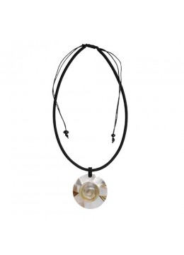 Bali Shell Resin Pendant With Cord Sliding Necklace Shell Made In Bali