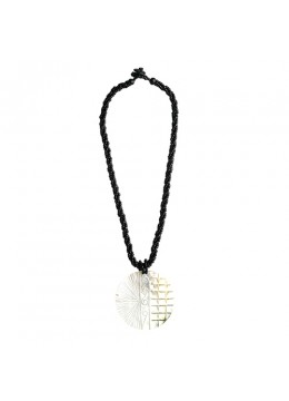Carved Mop Shell Penden Beaded Necklace  From Bali