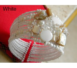 Beaded  Choker - White