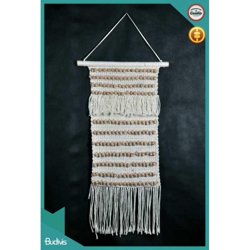 Bali Wall Hanging Macrame With Cowrie Shell Natural Rope