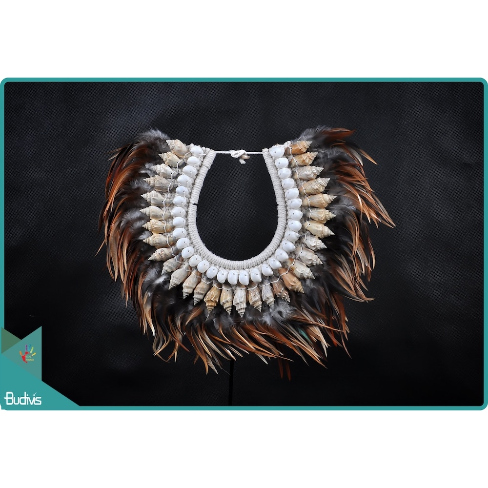 Factory Tribal Necklace Feather Shell Decorative On Stand Interior