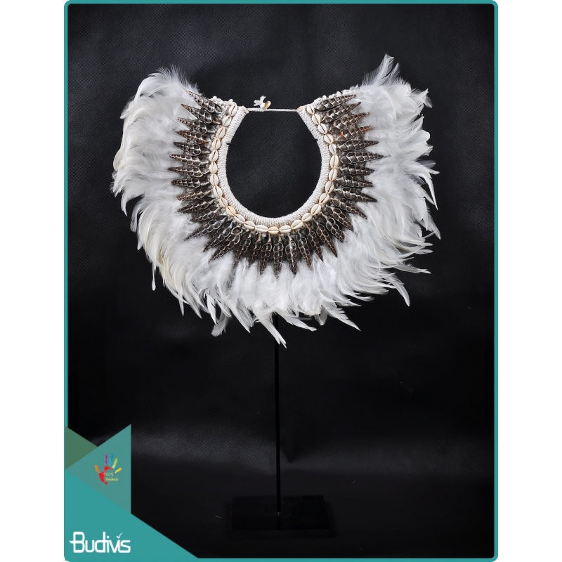 Top Sale Tribal Necklace Feather Shell Decorative On Stand Home Decor Interior