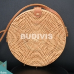 Solid Woven Classic Natural Round Rattan Bag