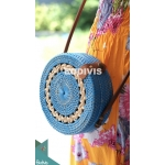 Blue Rattan Bag With Crème Hand Woven