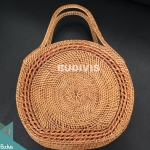 100% Hand made Classic Natural Rattan Round Hand Bag
