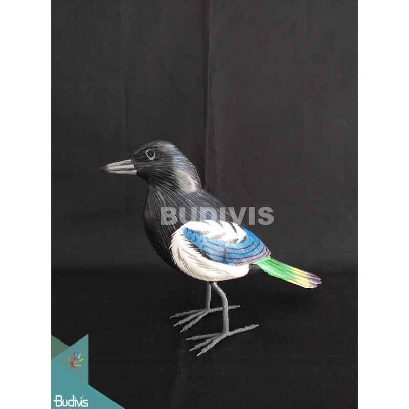 Figurine Realistic Miniature Wooden Birds Carving Hand Painted Garden Decor
