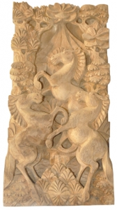 Relief Horse Wood Carving