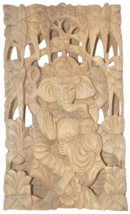 Relief Ganesh Wood Carving