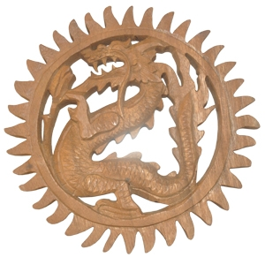Relief Dragon Wood Carving