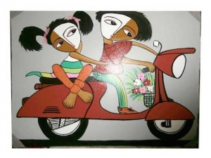 Couple in Bike Painting