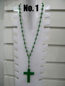 Beaded Necklace Resin Cross
