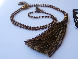 Beaded Tassel Necklace Crystal