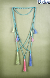 Long Beaded Gems Tassel Necklace