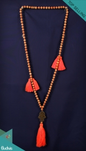 Bali Mala 108 Wooden Long Hand Knotted Necklace With Hamsa