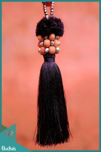 Black tassels keychain with pompom