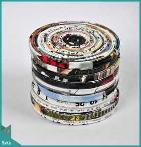 Top Selling Saucers Round Art Recycled Magazine Set Customized