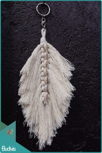 Boho Macrame Feather With Cowrie Shell Keychain