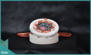 Best Round Bag White Synthetic With Flower Woven Rattan