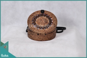 Best Round Bag Antique Black Painting Rattan