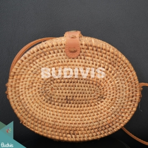 Bali Oval Bag Natural Brown Full Rattan