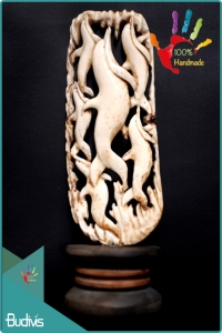 100 % In Handmade Hand Carved Bone Dolpin Scenery Ornament Best Seller