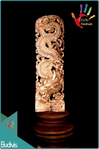 100 % In Handmade Hand Carved Bone Dragon Scenery Ornament Manufactured