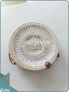 Circle Spring And Sunflower Pattern Round Rattan Bag