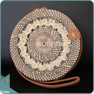 Braided Cream And Brown Rattan Round Bag